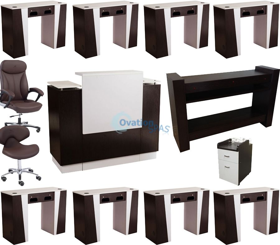 Custom nail salon furniture package made in usa for Unique manicure tables