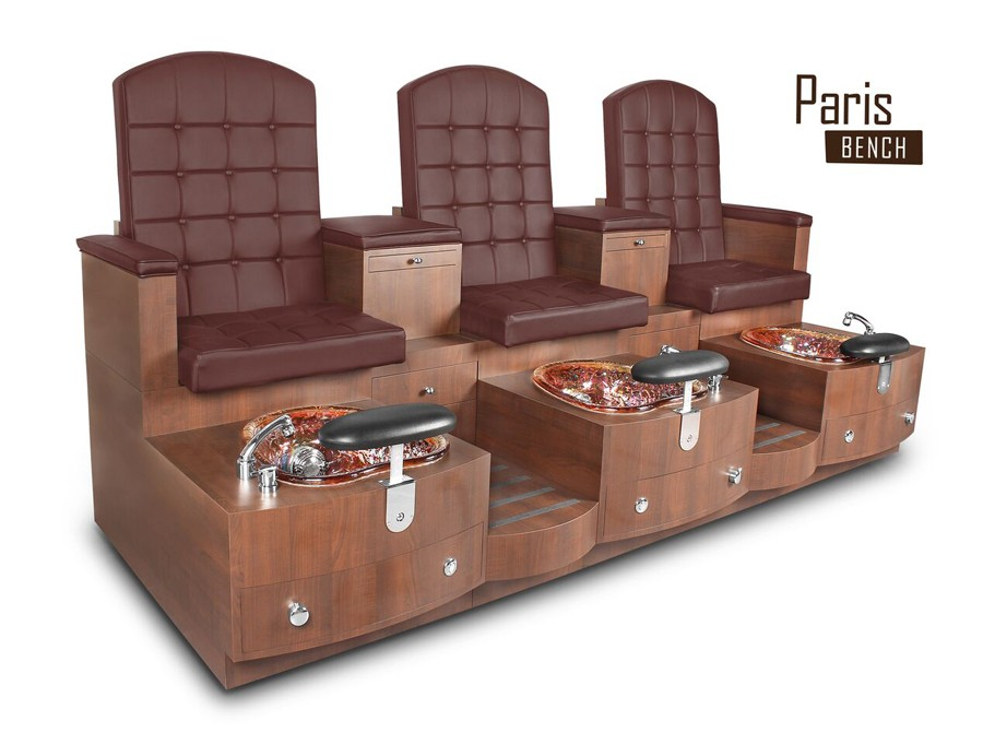 Triple Paris Pedicure Bench - Leather Burgundy
