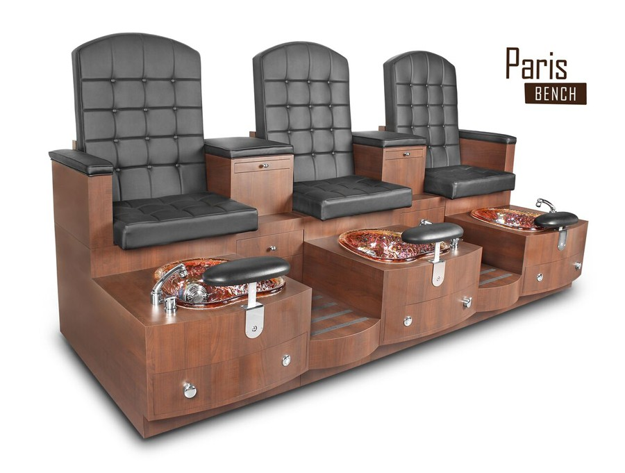 Triple Paris Pedicure Bench - Leather Black