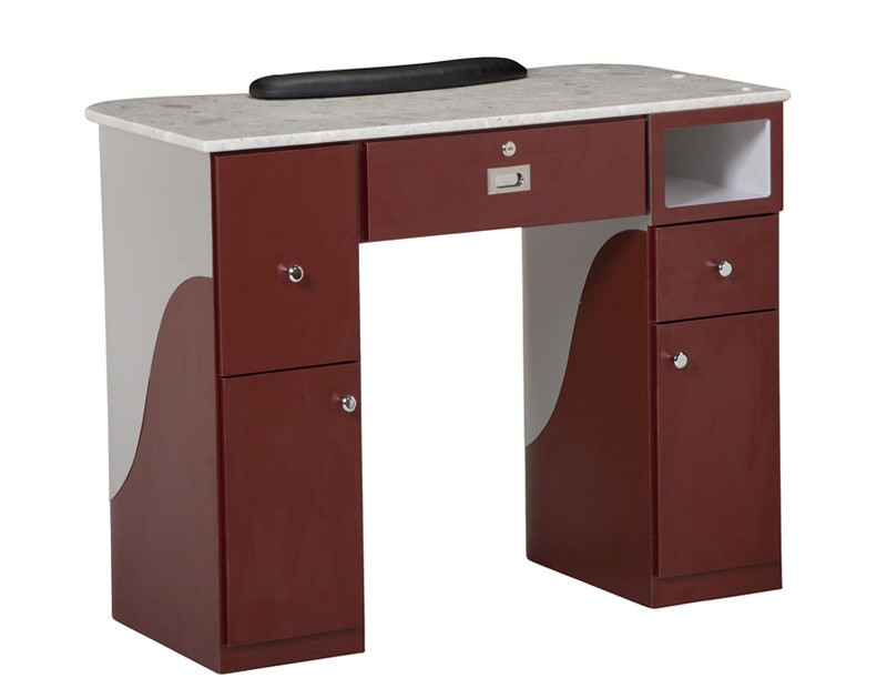 PSOA - Manicure Table T105 (Burgundy/Aluminum)