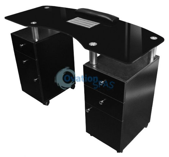 Manicure Table with Draft Fan (Black)