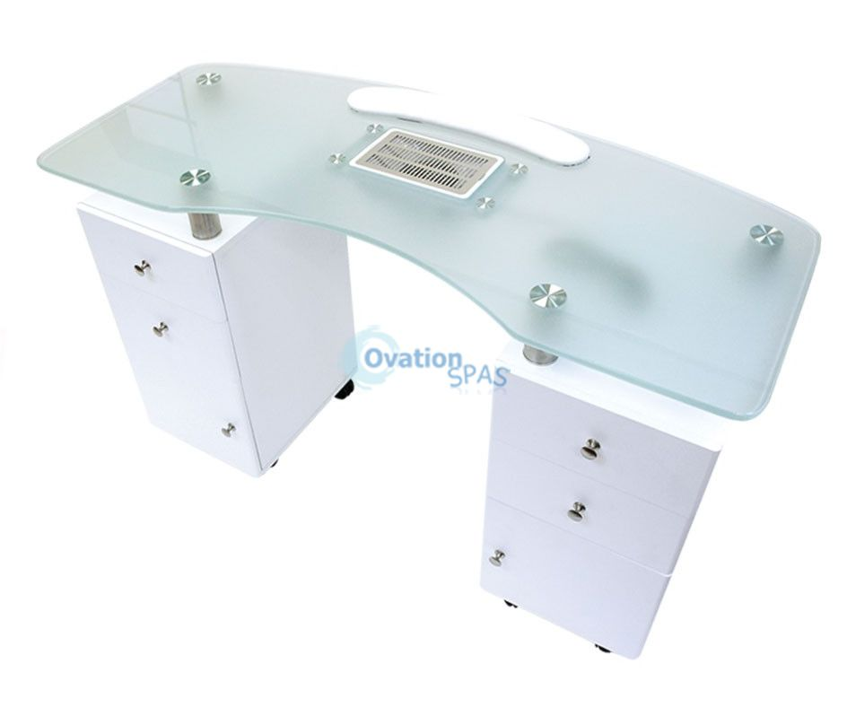 Manicure Table With Draft Fan White