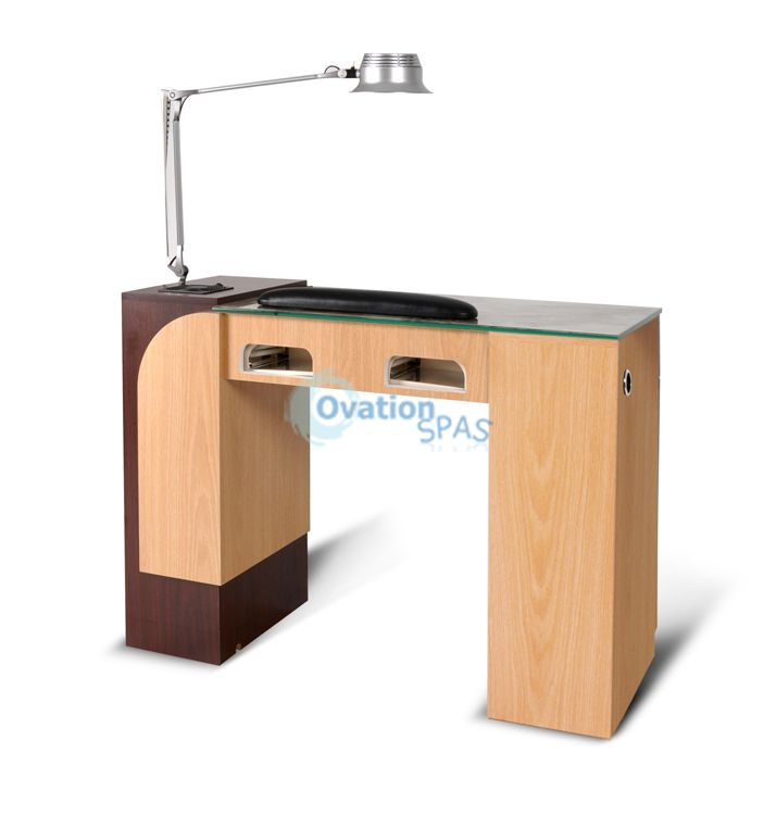 IV Manicure Table w/UV Light (Light Oak)