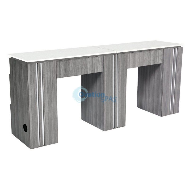 NM906 Double Manicure Table - Grey / White