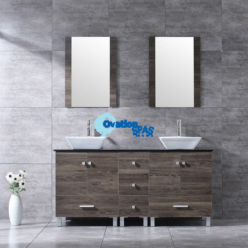 "60"" Double Vanity Wood Cabinet White Ceramic Sink Mirror Top Combo"