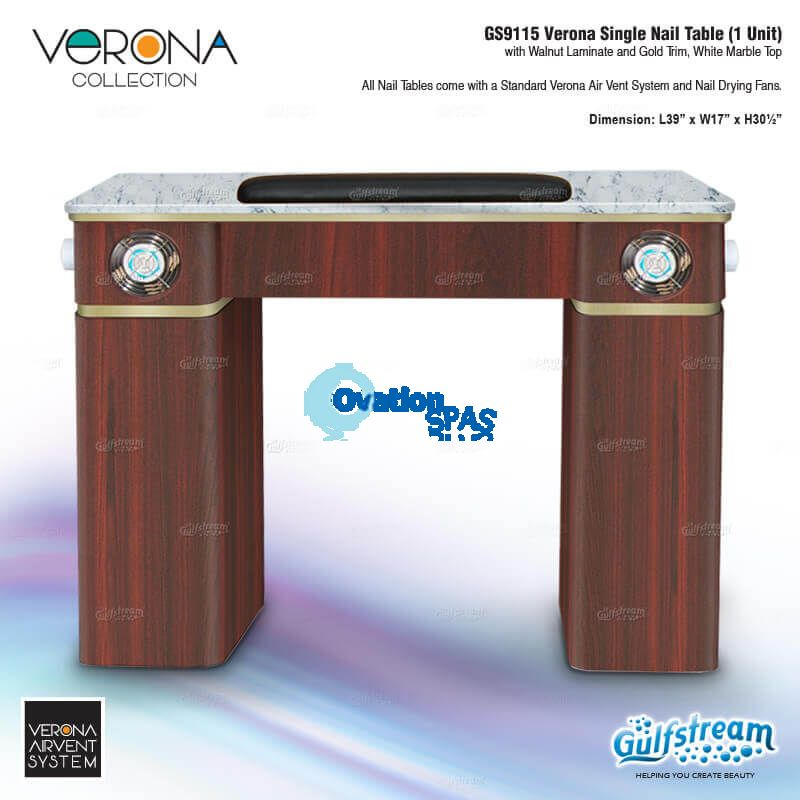 Verona Nail Table with Vent Pipe / Fan (Walnut)