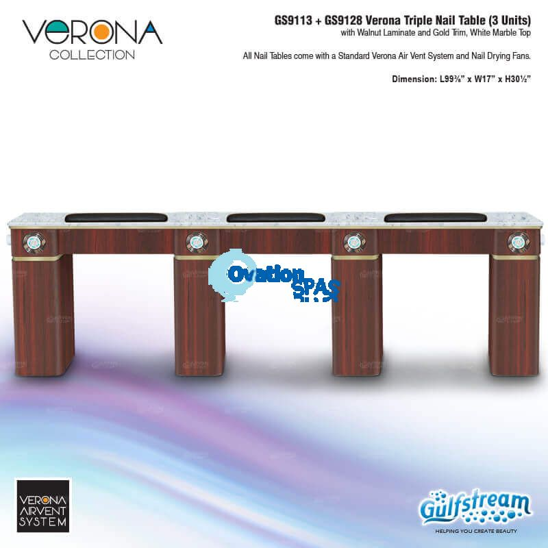 Verona Triple Nail Table with Vent Pipe / Fans (Walnut)