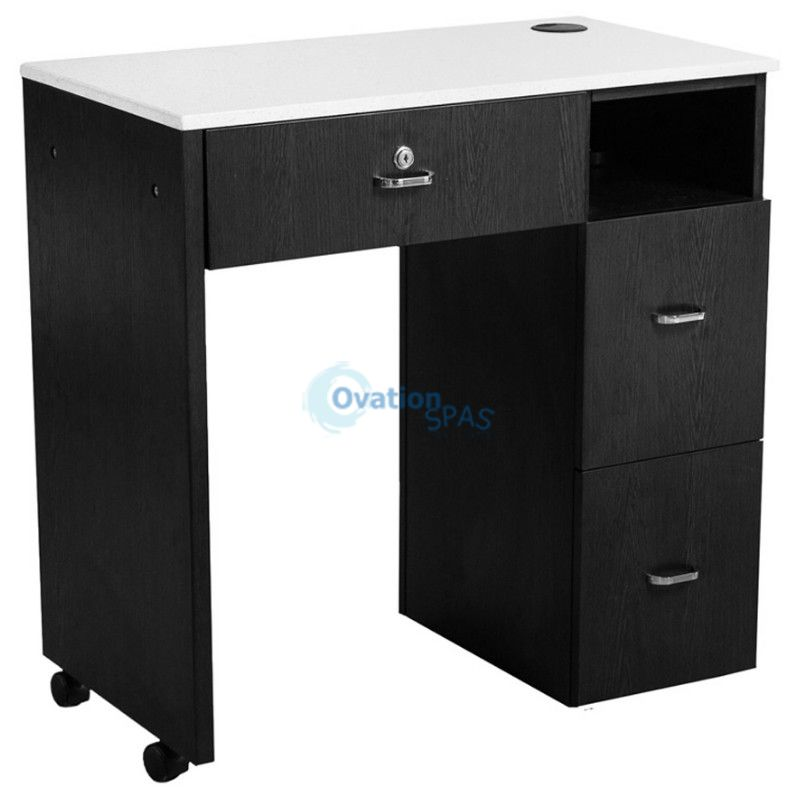 NM904 Space Saving Manicure Table - Black / White
