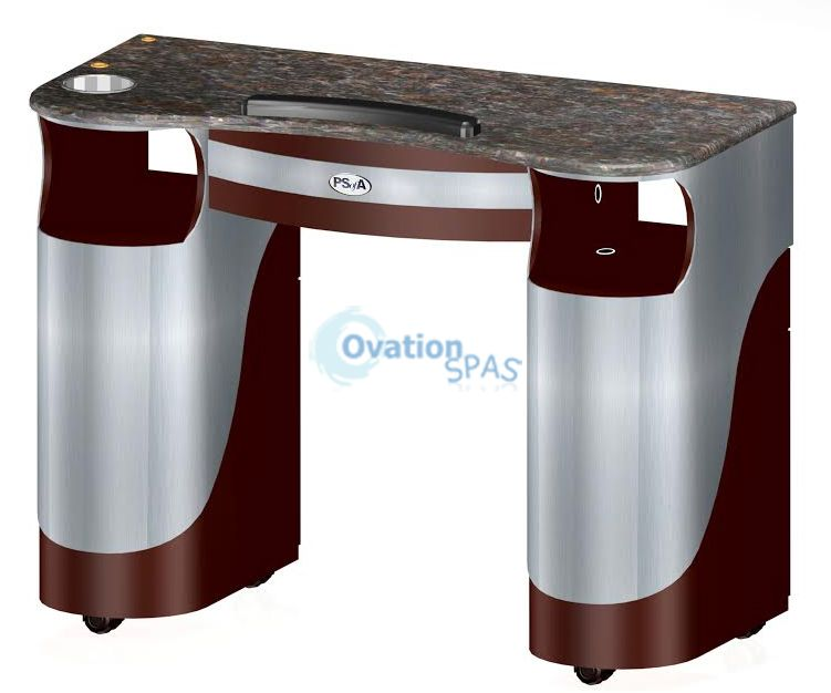 PSOA - Manicure Table T105 with UV Gel Hold (Burgundy/Aluminum)