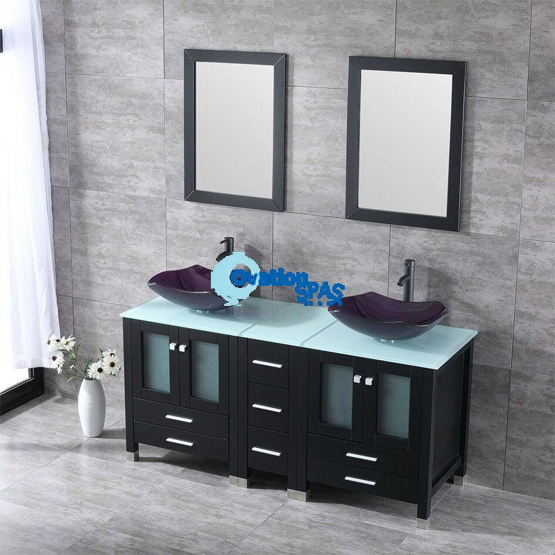 "60"" Vanity Cabinet Double Scalloped Glass Sinks Faucet Drain w/Top Set"