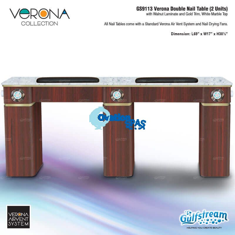 Verona Double Table with Vent Pipe / Fans (Walnut)