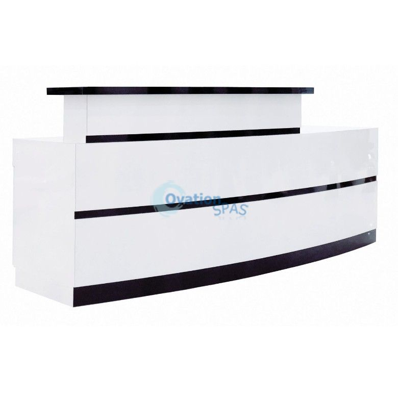 Lux Stripes Reception Desk - White / Black