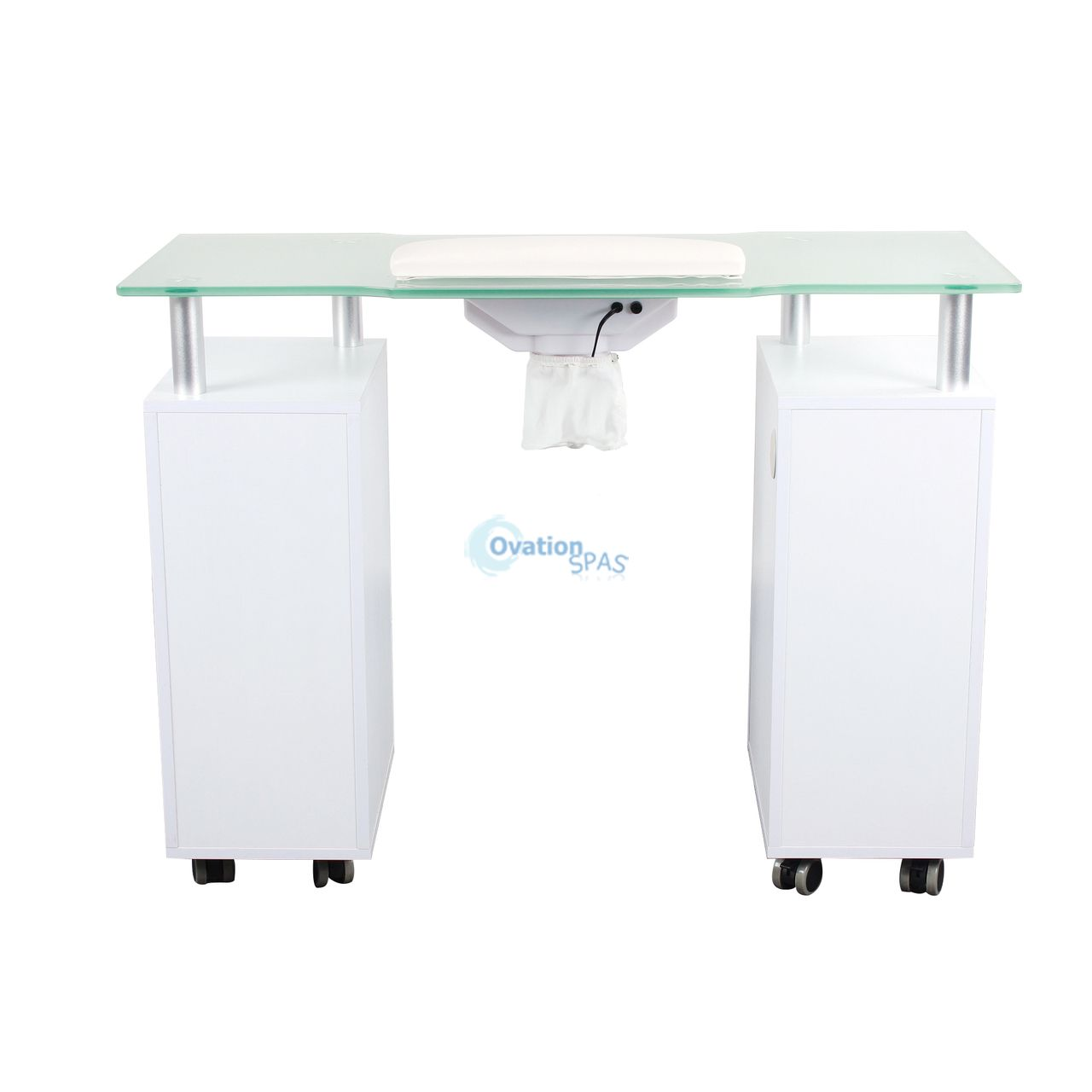 Glasglow Nail Table with Draft Fan (White)
