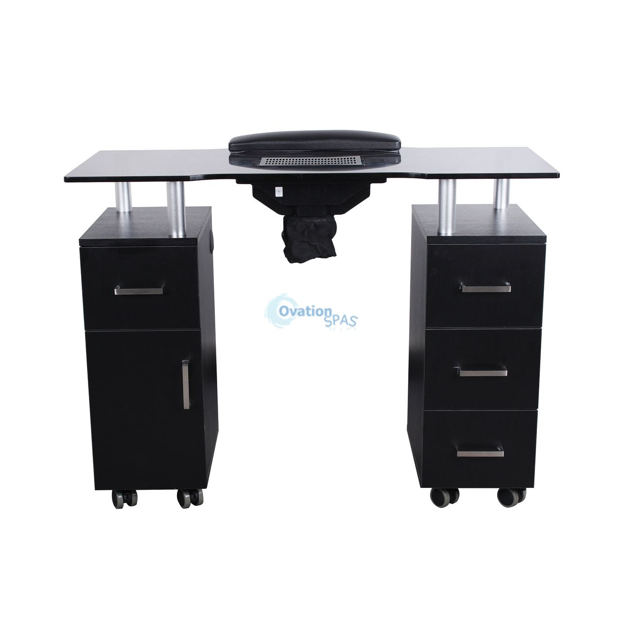 Glasglow Nail Table with Draft Fan (Black)