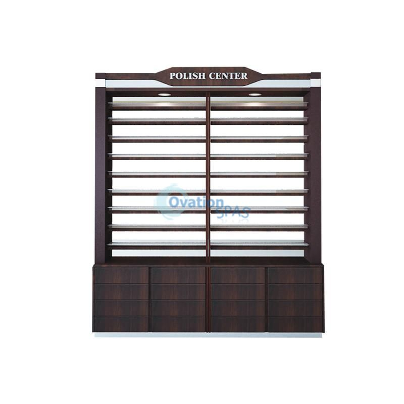 2 Sided Polish Rack with Cabinet 2