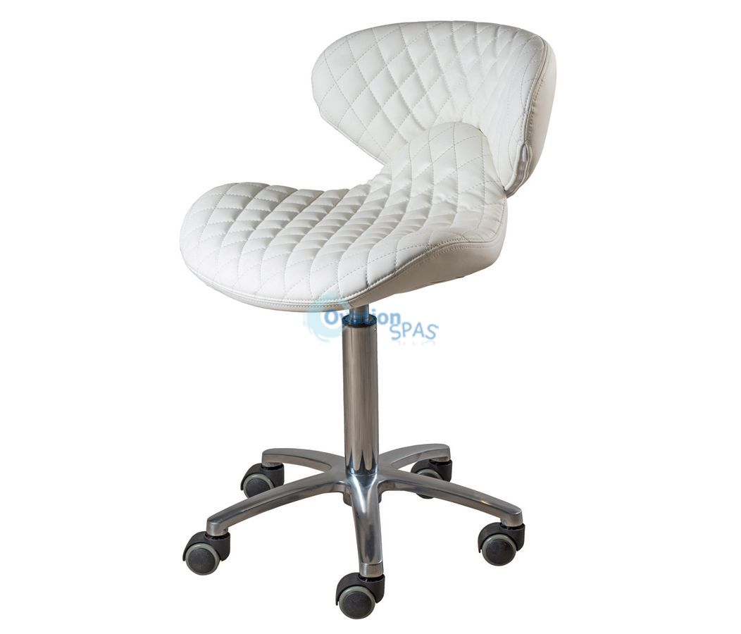 Diamond Quilted Nail Stool (White)