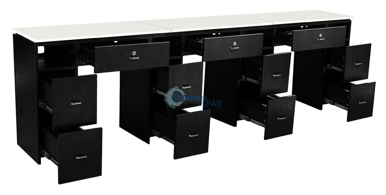 NM906T Triple Nail Table - Black / White