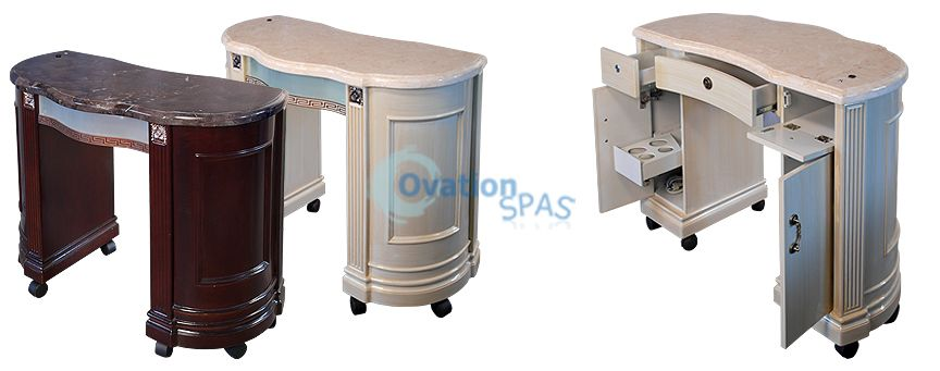 Zm compact manicure station nail table with marble top for Small manicure table