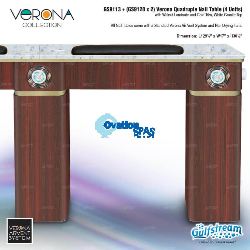 Verona Quadruple Nail Table (4 Units) - Walnut