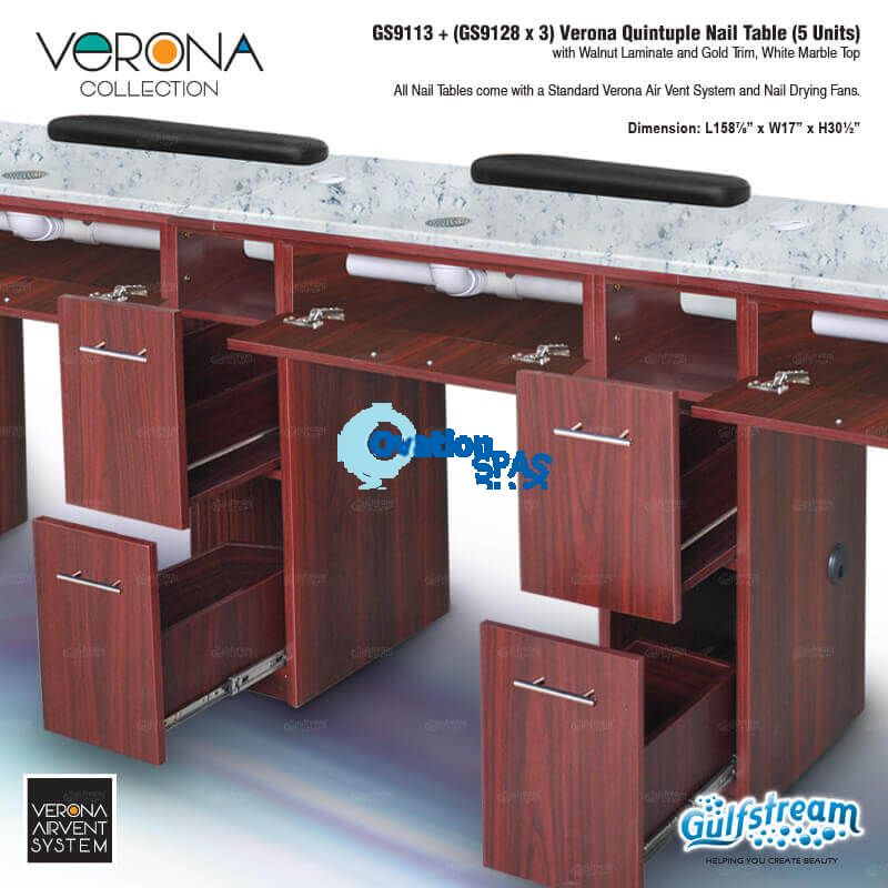 Verona Quintuple Nail Table (5 Units) - Walnut