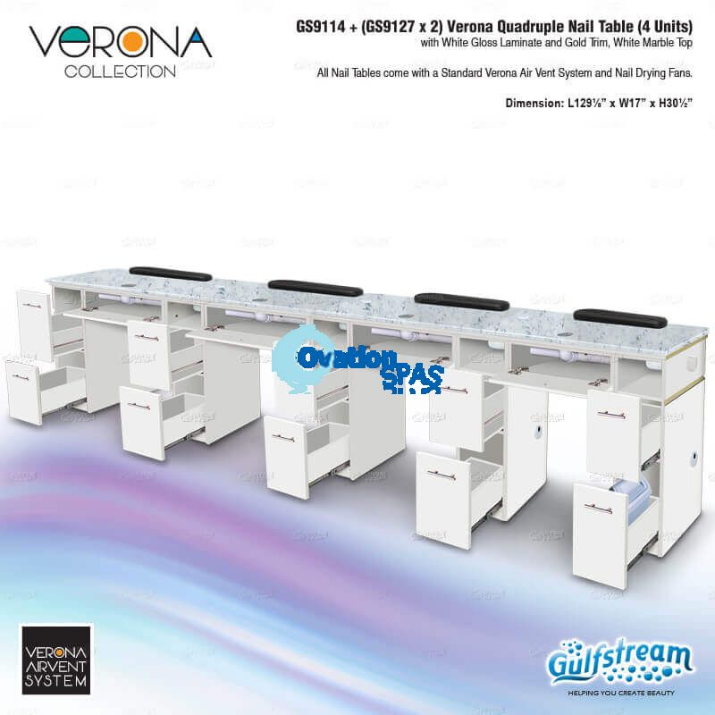 Verona Quadruple Nail Table (4 Units)